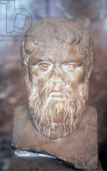 Plato (424/423 BC-348/447 BC). Was a classical greek philosopher. Copy of portrait bust by Silanion.