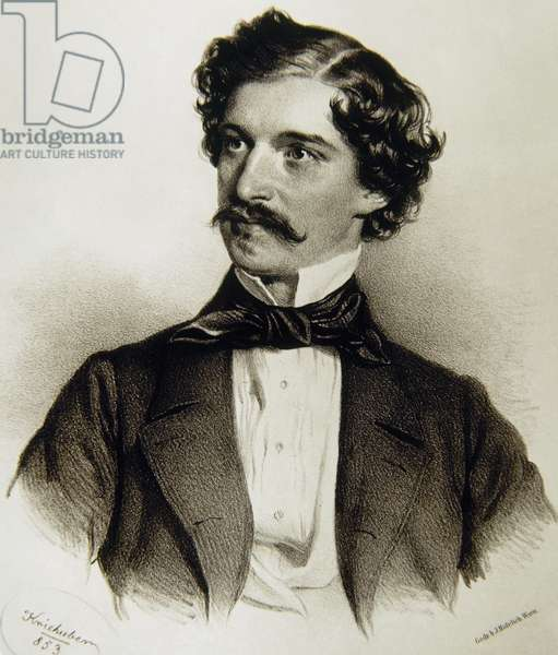 Portrait of Johann Strauss II (1825-1899) (engraving) 1853