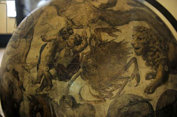 Terrestrial globe by  cosmographer Vicenzo Coronelli (1650-1718). Detail.