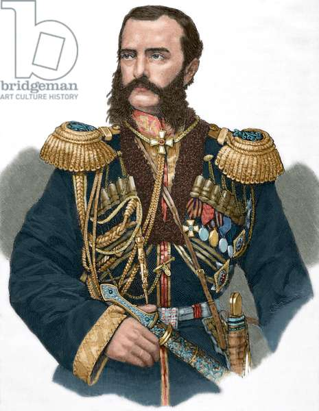 "Grand Duke Michael Nikolaevich of Russia, from ""Historia Universal"", 1885 (colour engraving)"