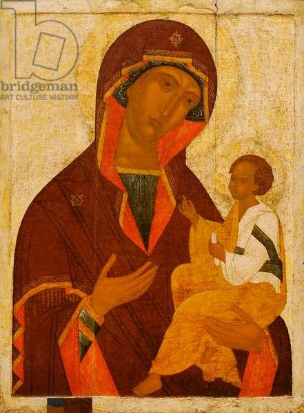 Russian icon depicting Mother of God Gruzinskaya, Novgorod School, First half of 16th century