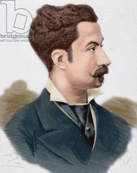 Luis Fernandez de Cordoba y Perez de Barradas (1851-1879). 16th Duke of Medinaceli. Portrait (colour engraving)