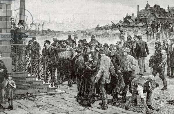 Labor movement - The strike in Belgium, 1886 (engraving)