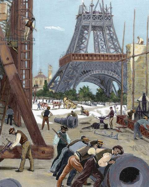 Paris. Universal Exhibition of 1889. Construction of the Eiffel Tower.