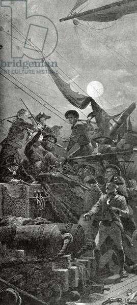 American Revolutionary War (1775-1783). John Paul Jones (1747-1792) captures the British ship Serapis on September 23, 1779 (engraving)