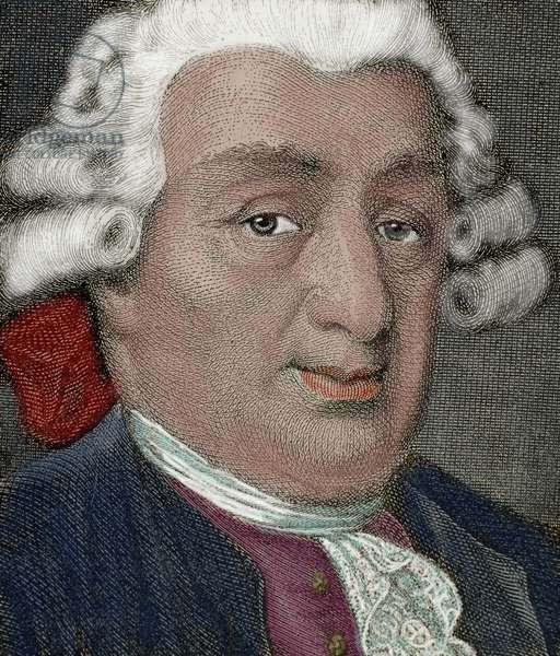 Carlo Goldoni (1707-1793). Italian playwright and librettist from the Republic of Venice (colour engraving)