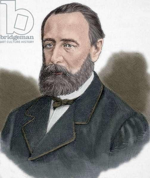 Mikhail Katkov (1818-1887) (colour engraving)