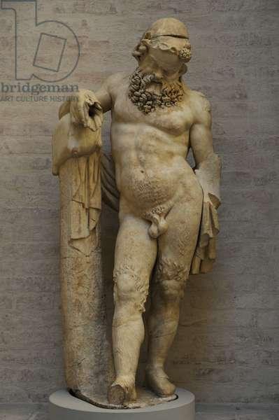 Statue of a Silenus. Roman sculpture after a model of about 330 BC. Glyptothek. Munich.
