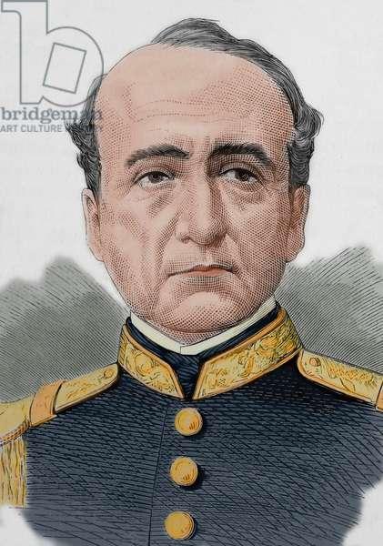 Manuel de Mendiburu (1805-1885). Peruvian military, politician and historian. Portrait (colour engraving)