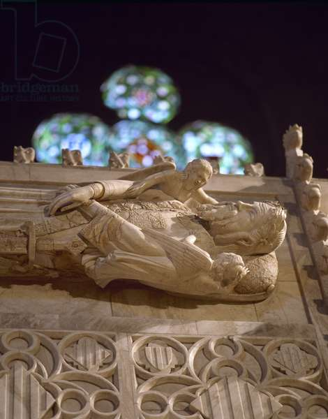 Tomb of Alfonso II of Aragon called the Chaste (1154-1196). Royal Pantheon of Monastery of Poblet. Spain.