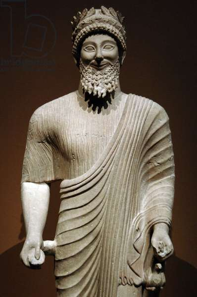 Phoenician art. Cyprus. Bearded man with votive offerings. Ca. 475-450 BC. Classical Period.