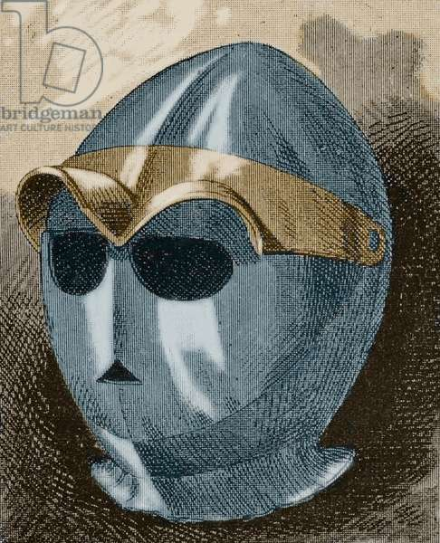 Spanish sallet, Museo Militar, 1883, Later colouration (coloured engraving)