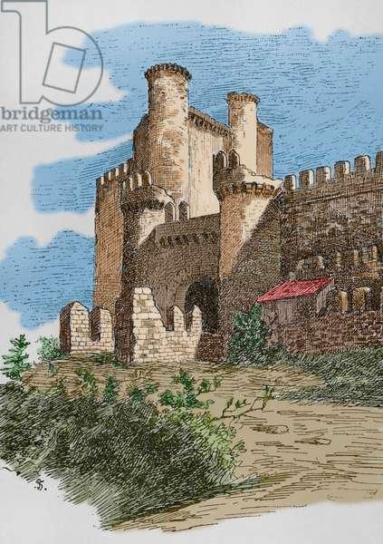 Spain, Ponferrada, Templar castle, Later colouration (coloured engraving)