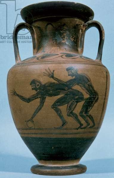 Greek art. Amphora. Black-figure pottery. Erotic decoration. Dated between V-IV centuries B.C.