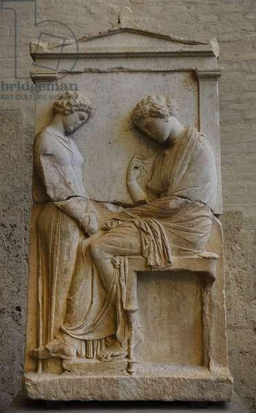 Greek art. Grave relief of Mnesarete. About 380 BC. Glyptothek. Munich.