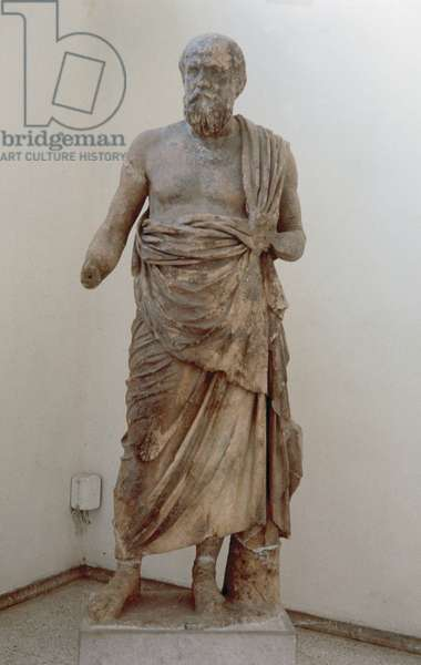 Marble statue of a greek philosopher. Probably Socrates.