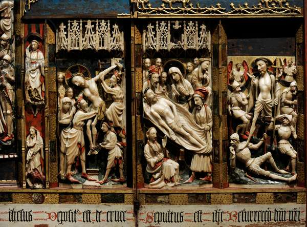 Triptych of Passion, c.1350-1400, Detail of the Descent from the Cross, the Holy Shroud and the Resurrection, Manufacturing of Nottingham
