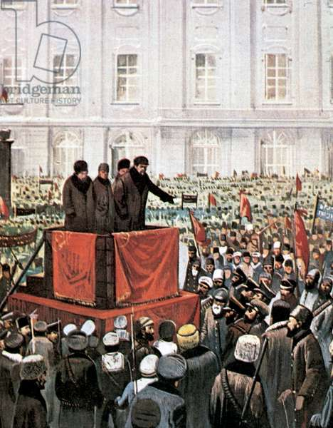 Russian Revolution (1917). Rally by Lenin and Leon Trotsky in St. Petersburg.