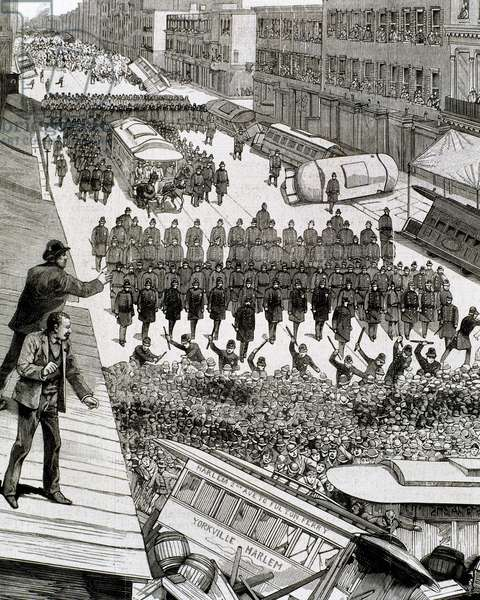 Police officers dispersing the strike of employees of Streetcar in New York, March 4, 1886 (engraving)