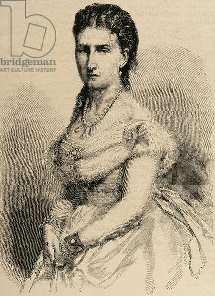 Infanta Antonia of Portugal. (1845–1913). Portuguese infanta (princess) of the House of Braganza-Saxe-Coburg and Gotha. Engraving.