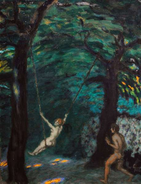 A Swing in the Woods, ca.1912, by Franz von Stuck (1863-1928).