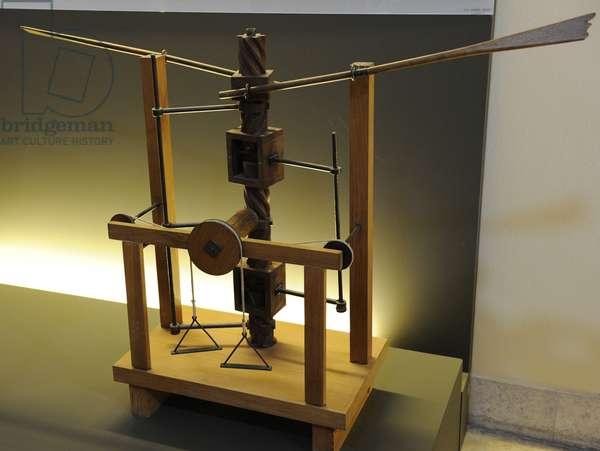 Model. Wing-beating device with a screw and lead screw system. Manuscript B. Leonardo da Vinci.15 th century.