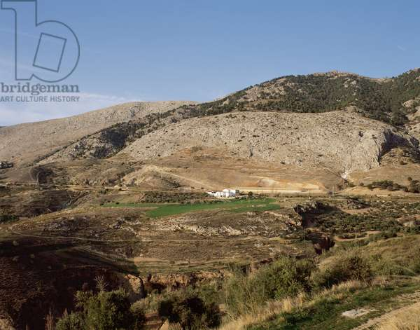 Spanish Civil War (1936-1939): view of the plain where the Spanish poet and playwright Federico Garcia Lorca (1898-1936) was killed in Viznar, Spain (153-021968)