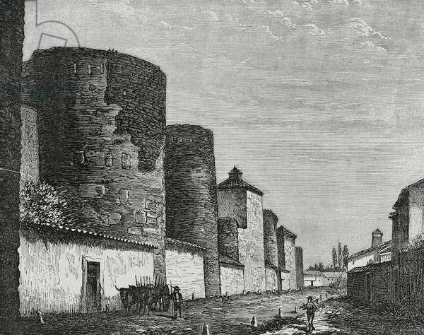 Spain, Leon, Wall, 19th century (engraving)