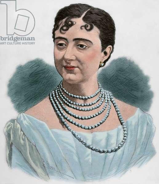 Elisa Mendoza Tenorio (1856-1929). Spanish dramatic actress. Portrait (colour engraving)