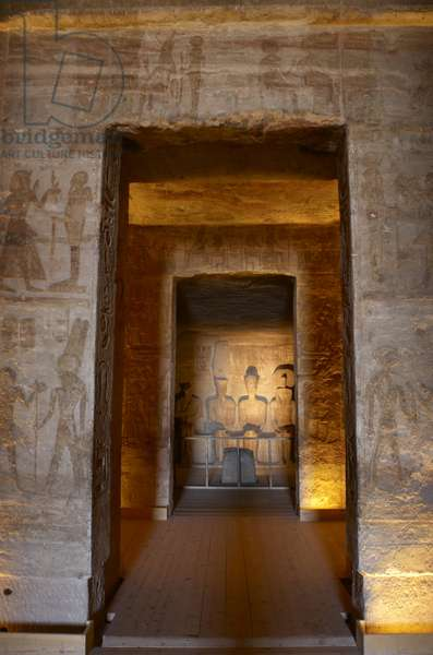 Egyptian art. Great Temple of Ramses II . Holy of Holies, depicting Ra, Ptah, Amun and Ramses II. Abu Simbel. Egypt.
