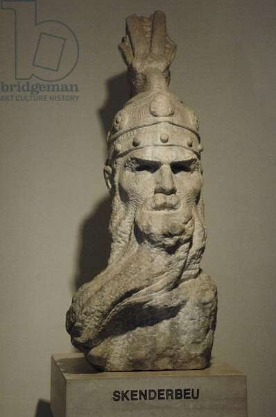 Skanderbeg (1405–1468). National hero and a key figure of the Albanian National Awakening. Bust.