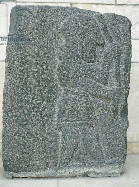 Antiquities Oriental. Aramaean relief. Basalt bas-relief. 10th century BC. National Museum. Aleppo. Syria.