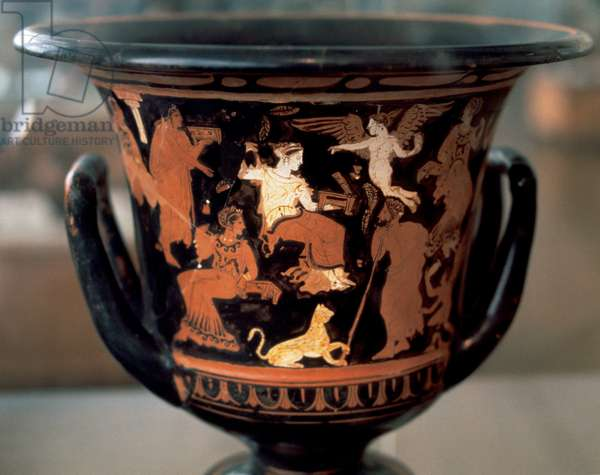Greek art. Krater depicting parties idle. Dated to 4th century BC. National Archaeological Museum. Athens.