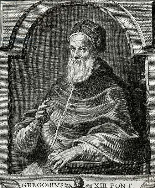 Pope Gregory XIII (1502-1585). Portrait (engraving)