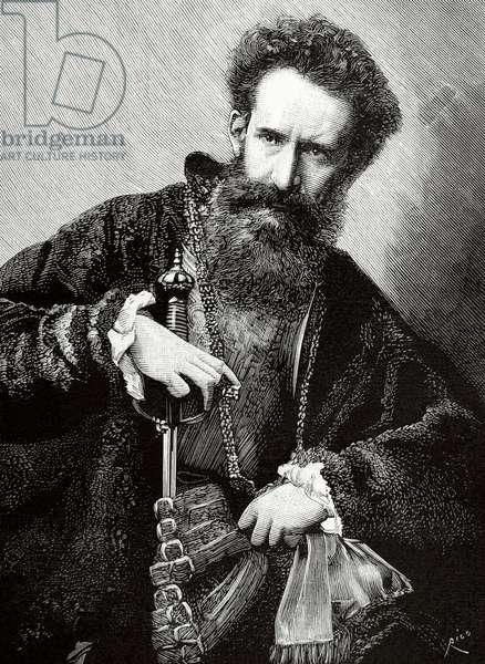 Hans Makart (1840-1884). Austrian academic history painter, designer, and decorator, Engraving.