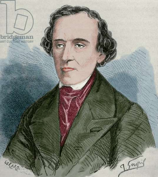 Giacomo Meyerbeer (1791-1864), German opera composer, Portrait by Gerard, Engraving, Coloured
