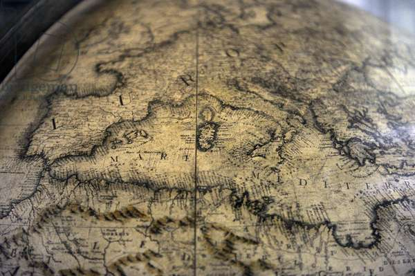 Terrestrial globe by  cosmographer Vicenzo Coronelli (1650-1718). Detail. Europe.