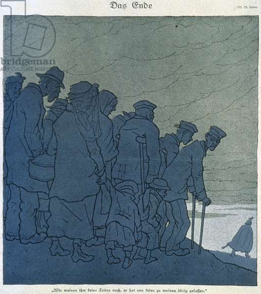 First World War (1914-1918). 'The End.' Th.Heine cartoon published in the magazine 'Simplicissimus' on William II's flight to Holland, 1918 (lithograph)