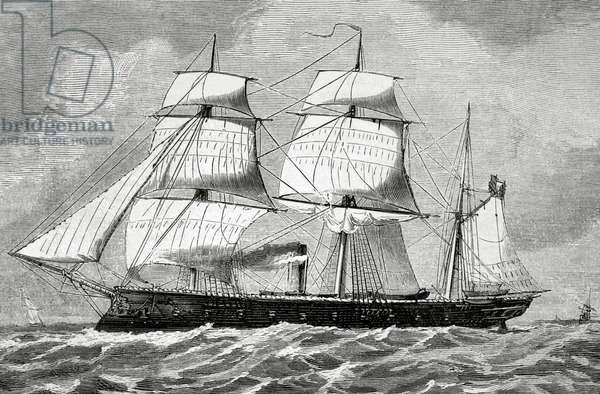 """War of the Pacific (1879-1883). Peruvian armored frigate """"Independence"""" (engraving)"""