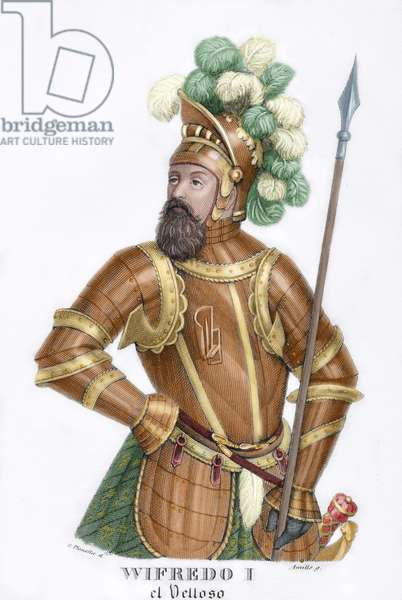 """Wilfred I the Hairy (840-897). Count of Urgell (870–897), Cerdanya (870–897), Barcelona (878–897), Girona (878–897), Besalu (878–897), and Ausona (886–897). """"The Counts of Barcelona vindicated,"""" written by Prospero Bofarull (1777-1859), scholar and historian Catalan. Colored engraving."""