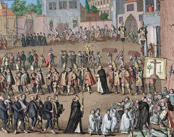 Spanish Inquisition, Auto-da-fe (colour engraving)