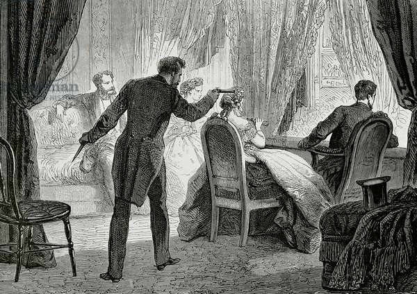 Assassination of President Abraham Lincoln by John Wilkes Booth (1838-1865) at Ford's Theatre in Washington, D.C, on April 14, 1865 (engraving)