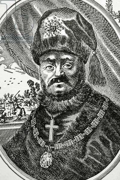 Tsar Michael I of Russia (1596-1645). Portrait (engraving)