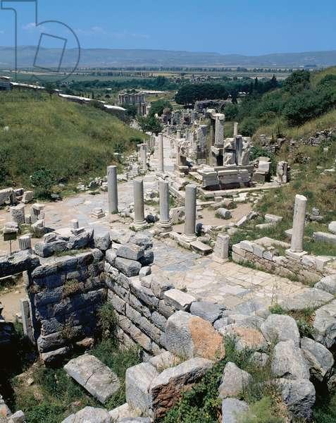 Greek art. Asia Minor. Ephesus.  Overview of Street of Curetes.