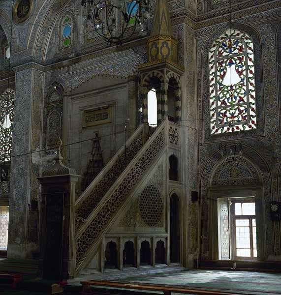 Turkey. Istanbul. The Mihrimah Sultan Mosque, designed by Mimar Sinan. 1562-1565. Inside. Minbar.
