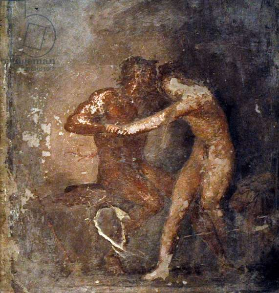 Hermaphroditus and satyr, Roman fresco, From Herculaneum, 1st century AD