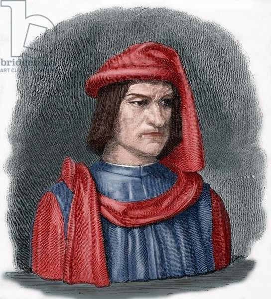 Lorenzo de Medici (1449-1492). Engraving. coloured.