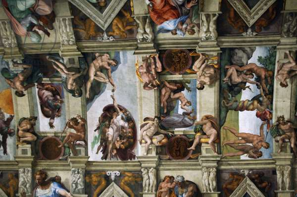 Frescoes of the ceiling of Sistine Chapel by Michelangelo. C.1512.