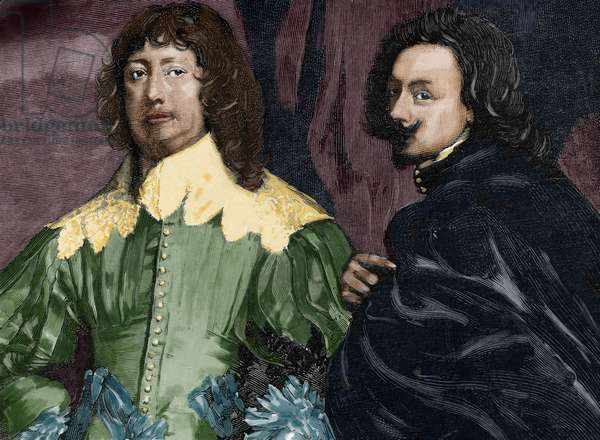 Anthony van Dyck (1599-1641) and Lord John Digby (1580-1653). Colored engraving.