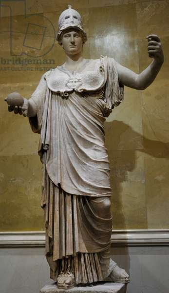 Athena, goddes of wisdom and just war. Statue. Marble.
